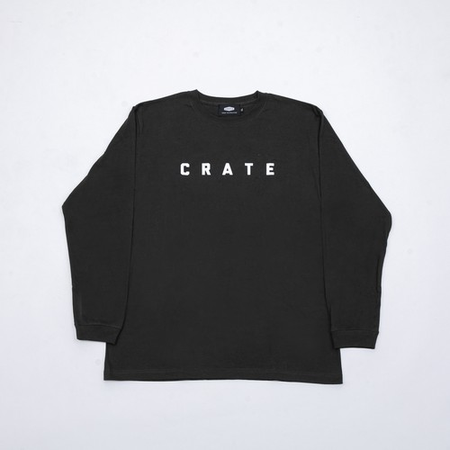 CRATE SIMPLE LOGO L/S T-SHIRTS CHARCOAL GRAY