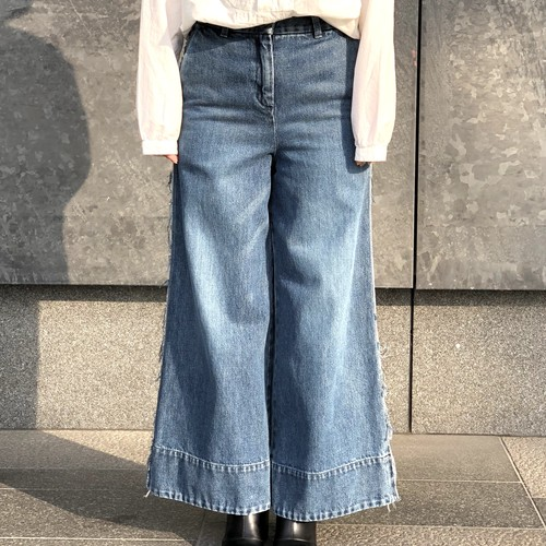 【CINOH】WASHED DENIM WIDE PANTS