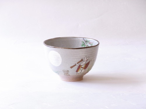清水焼 よし三 作 茶碗 月に兎