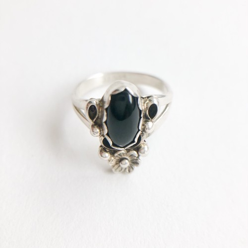silver 925 black & flower ring #8-9[r-112]
