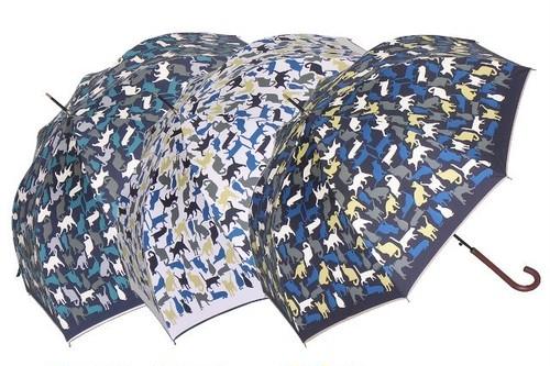 傘 長傘 ジャンプ レディース ネコ キャッツ柄 晴雨兼用 強力防水 グラス骨 UVカット99%以上 遮熱 ブラックコート