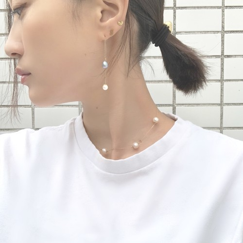 ■drop pearl swing pierce -gray-■ ドロップパールスイングピアス グレー