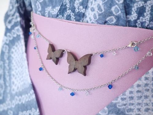蝶の帯飾り(羽織紐)【瑠璃色×水色×白】2WAY