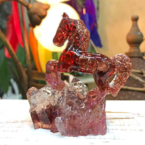 馬型オルゴナイトⅡ ガーネット&ピンクトルマリン