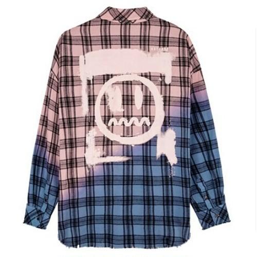 送料無料ユニセックス/オーバーサイズ/バイカラーチェック/長袖シャツ