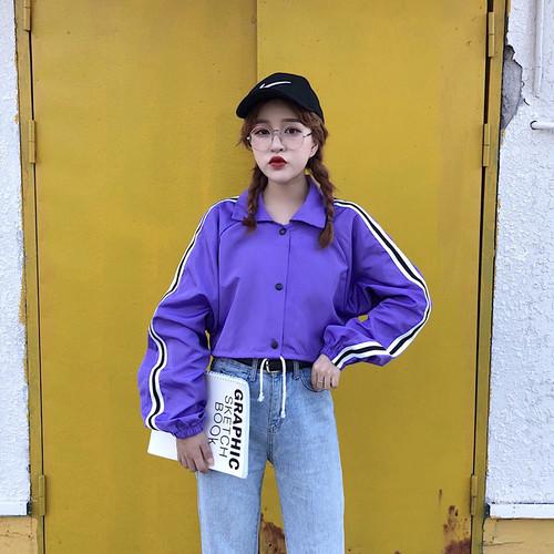 韓国風ファッションパープルショートジャケット・アウター