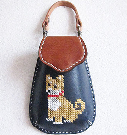 mobile case~柴犬~栃木レザー