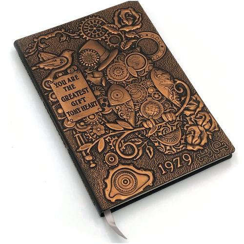 インテリアのような高級感のあるノート! アンティーク調 レトロ A5 梟 ふくろうノート 銅 3D壁画  日記帳