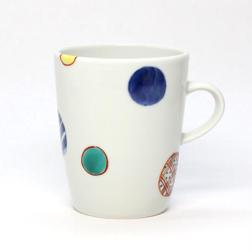 染錦地紋丸紋筒型マグカップ