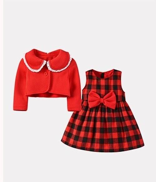 ◆ 大きなリボンがとってもCUTE Aライン の フレアワンピース タータンチェック 襟のフリルが 女の子らしい かわいい ワンピース カーディガン レッド 女の子 ベビー こども 春 秋 華やかな日にぴったりな ドレス