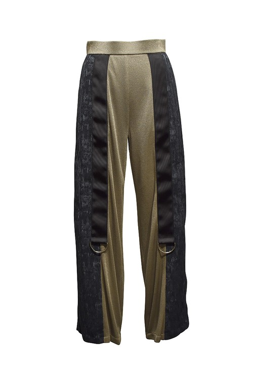 koll / lame rib pants / Gold