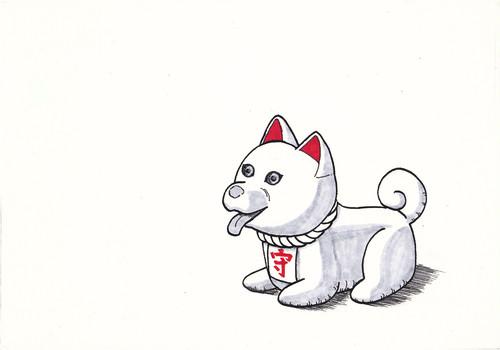 ポストカード 犬の守り神