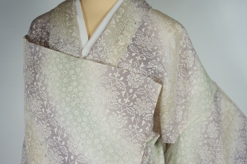 未使用【夏】トールサイズ 絽 小紋 唐花 正絹 パステルカラー 紫 黄緑 黄 536