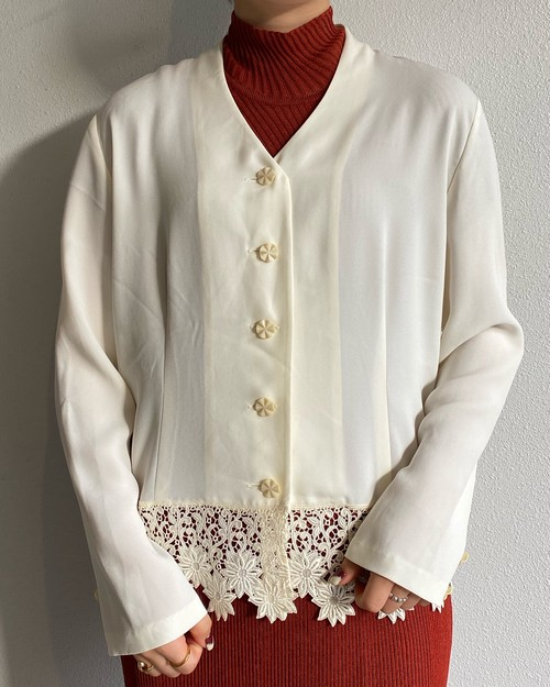 (PAL) no collar embroidery l/s shirt