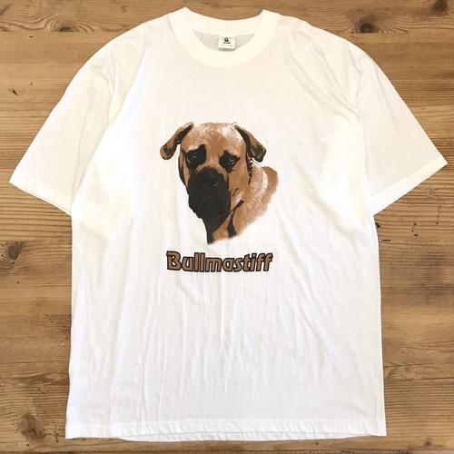 【USED】Bullmastiff ブルマスティフ 犬 ドッグ プリント 半袖 Tシャツ 白 XXL 大きいサイズ