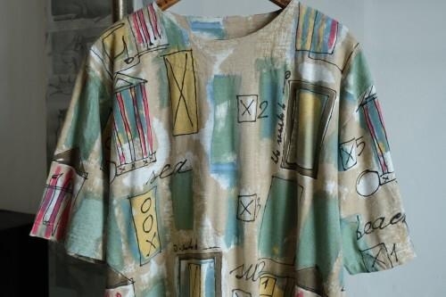 80's scribble printed boatneck T-shirt