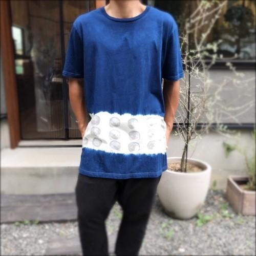 藍染メンズTシャツ L / 野菜スタンプ 胡瓜・solosolo