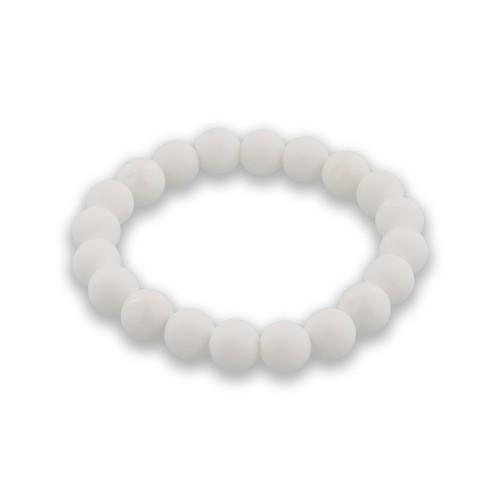 バランスブレスレット400ホワイト・ラウンドシリコーンビーズ (ホワイト10mm)