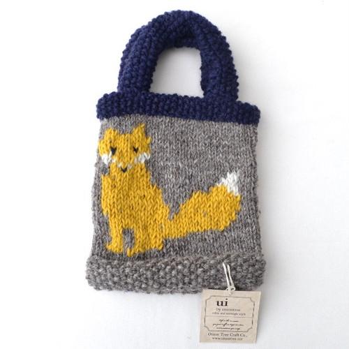 Knit Bag(きつね)【ui by oniontree】手編み バッグ