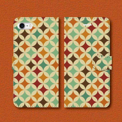 レトロポップ/七宝つなぎ/004/レトロ柄/iPhoneスマホケース(手帳型ケース)