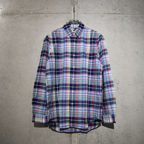 POLO RALPH LAUREN CLASSIC FIT CHECK SHIRT / NAVY x TURQUOISE