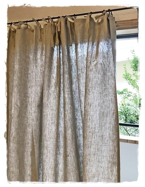 リネン生成*フラットリボンカーテン(厚手)【トールサイズ】W159×H203 ♥ セール中 ♥