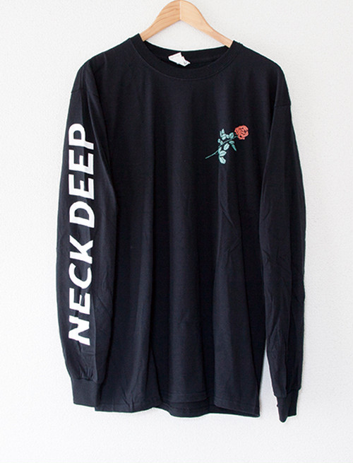 ※Restock【NECK DEEP】Rose Text Long Sleeve (Black)