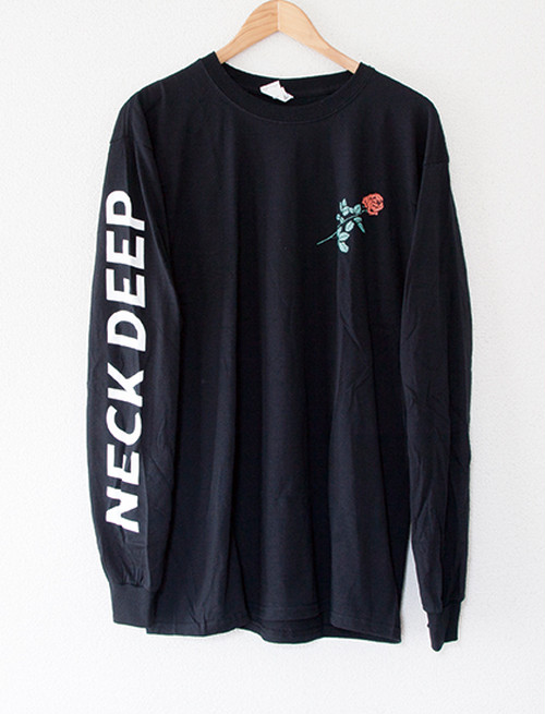 【NECK DEEP】Rose Text Long Sleeve (Black)