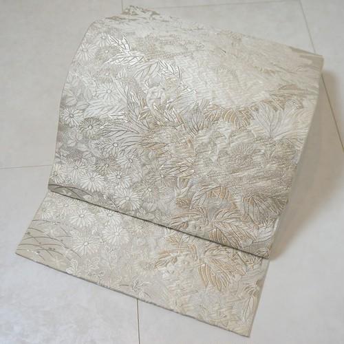 唐織り プラチナ箔 牡丹 菊 銀糸 袋帯 白 生成り 227