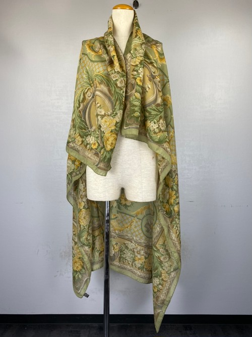 .ETRO SILK WOOL FLORAL PATTERNED LARGE SIZE SHAWL MADE IN ITALY/エトロシルクウール花柄大判ショール(ストール) 2000000042008