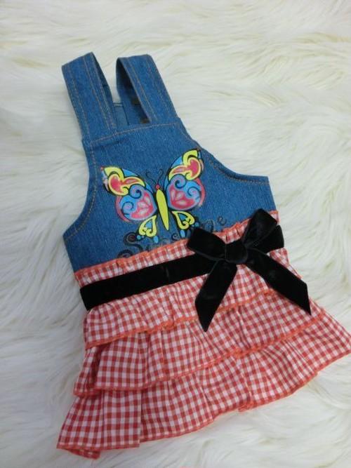 【アウトレット】★かわいい犬服ワンピ/ドレス  バタフライギンガムチェックデニムワンピ  オレンジ
