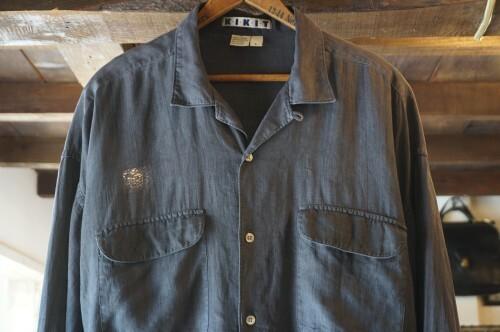 80's KIKIT charcoal black linen Shirt