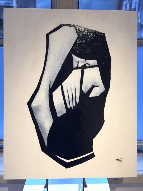 山田裕吉「呼ぶ声 猫と女」53×42cmパネルに和紙。アクリル、ミクストメディアアクリル、ミクストメディア