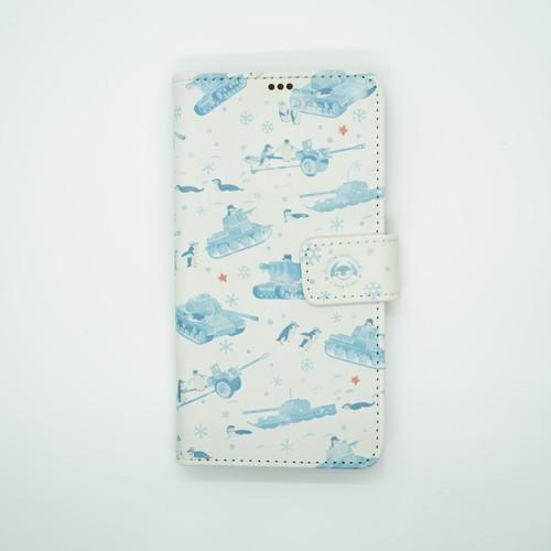 手帳型スマホケース | ヒゲペンギン×戦車 (iPhoneX用)