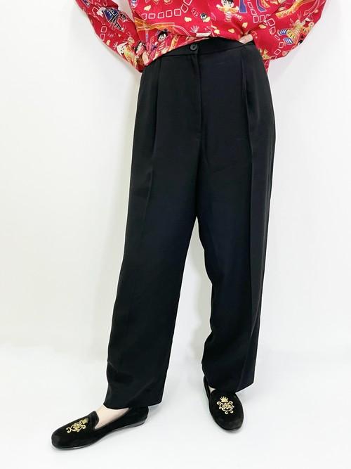 Vintage Satin Side Line Black Tuck Trousers