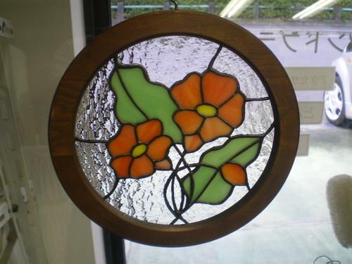 ステンドグラス オレンジの花のデザイン小パネル