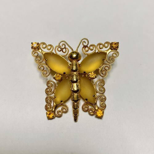 Vintage Frosted Glass Bijoux Butterfly Brooch