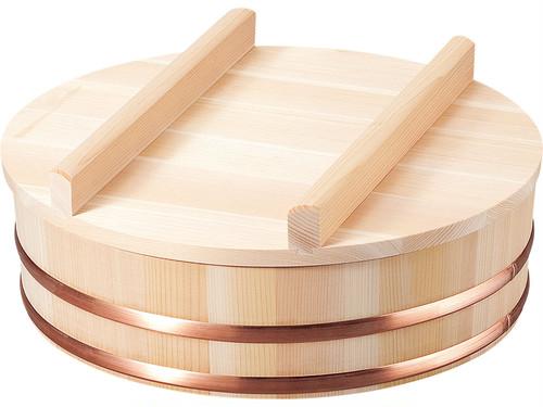 蓋付き さわら材の飯台 27Φ(約2合用) 国産ヒノキのしゃもじ付き(shop限定セット)