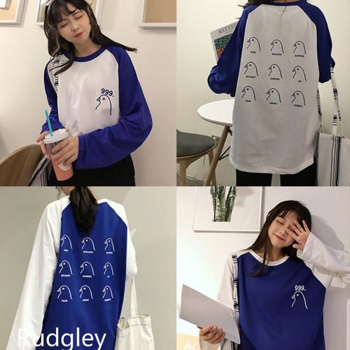韓国ファッションヒットカラープリントルーズ カジュアルTシャツ 長袖Tシャツロゴ プリント