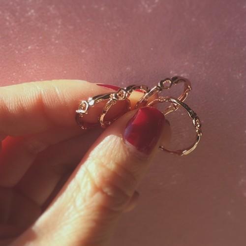 bone ring HEART pink gold #01010