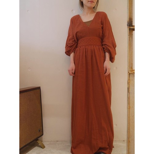 NOWOS / PUFF SLEEVE LONG ONE PIECE