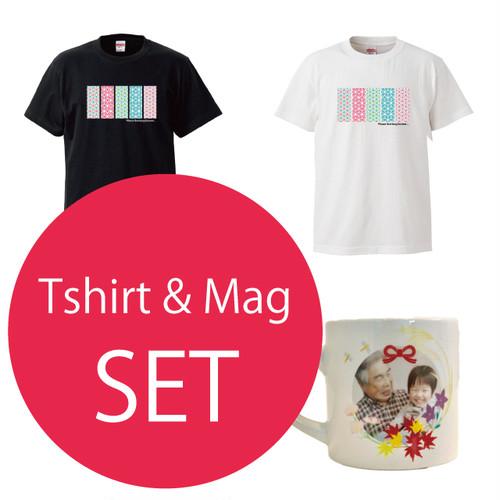 ★敬老の日に★お得な『和風紋様Tシャツ』と『マグカップ』のセット!★¥500もお得!★