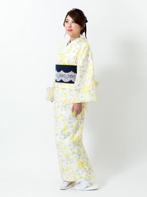 えもん 簡単 花すかし イエロー ジャケット スカート (Bタイプ) 着物 kimono Mサイズ