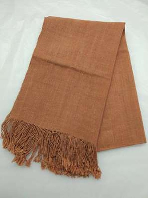 GBJWブータン産ストール 18001Madder(アカネ) Wild silk(野蚕) 100%