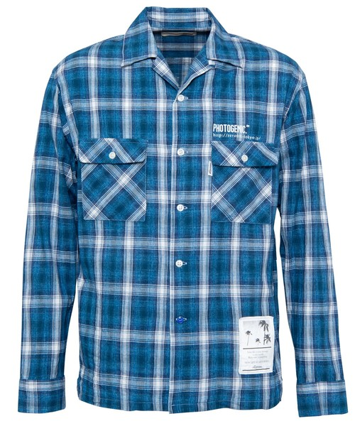 OPEN COLLAR WASHED CHECK SHIRTS[RES035]