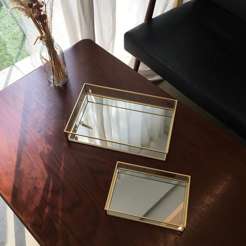 gold edge square mirror tray 2size / ゴールドエッジ スクエア ミラー トレー 韓国 北欧