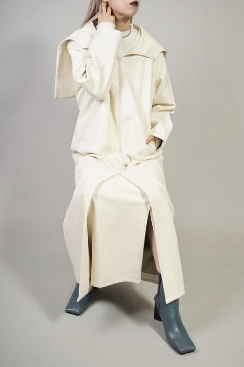 FAUX LEATHER SAILOR COLLAR COAT  (WHITE)2010-121-HK30-1