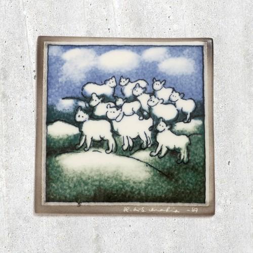 ARABIA アラビア Helja Liukko-Sundstrom ヘルヤ リウッコ スンドストロム 羊たちの陶板 - 3 北欧ヴィンテージ