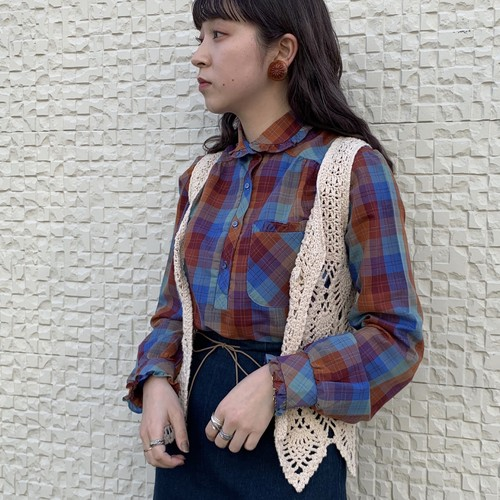 (LOOK) check pattern blouse