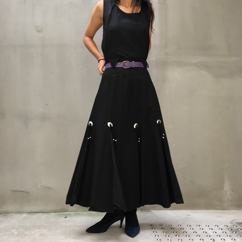80's black gored skirt with concho